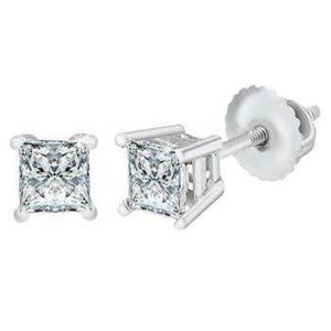 2.5 Ct Princess Cut Diamond Studs Earring